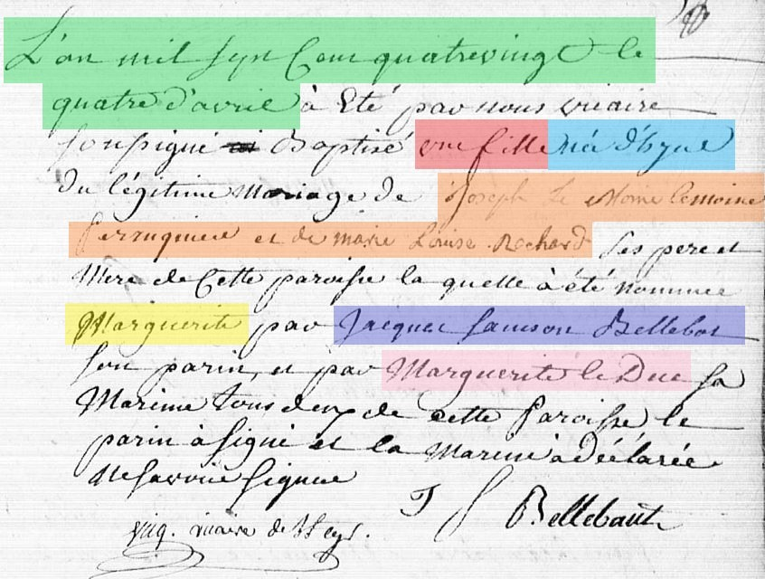 French baptism record before 1792