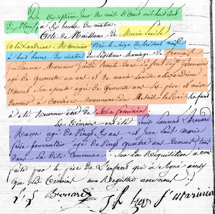 French baptism record after 1792