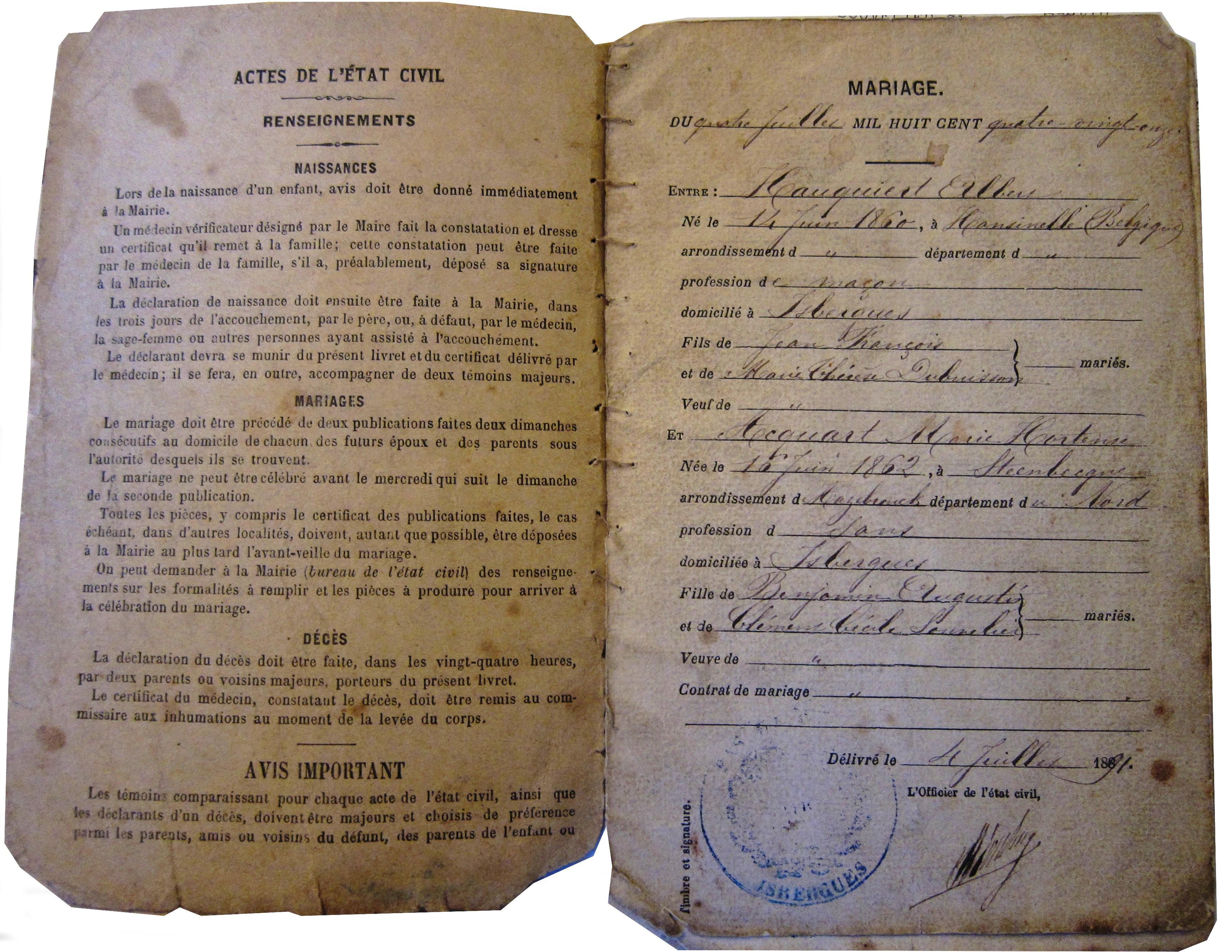 Livret de famille from 1891