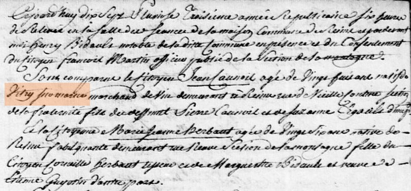 Example of marriage record from the Revolutionary period