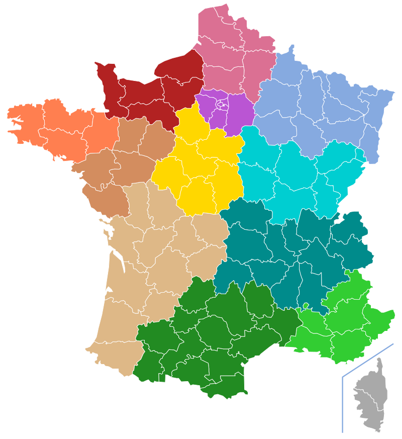 French regions (in colors) and departements (in white lines)
