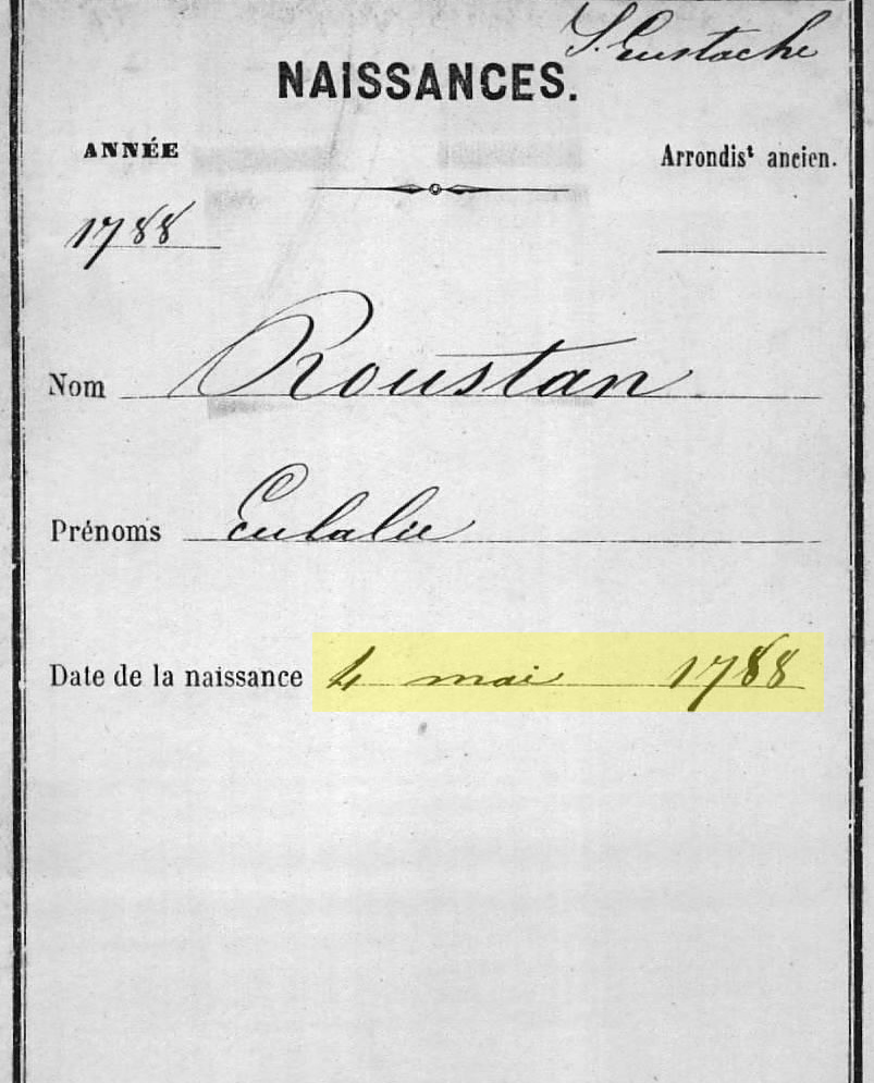 Index card for Eulalie Roustan's birth record