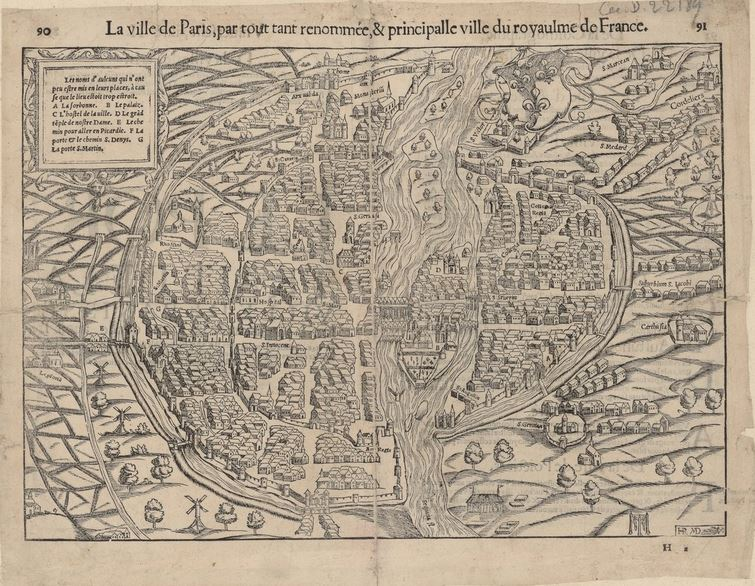 Example of a map of Paris in the 16th century