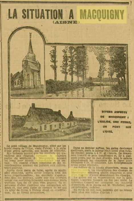 Extract from a 1908 newspaper about the village of Macquigny