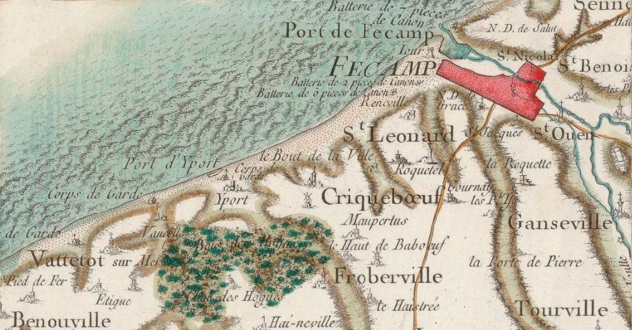Extract of map number 60 (area of Le Havre, in Normandy)