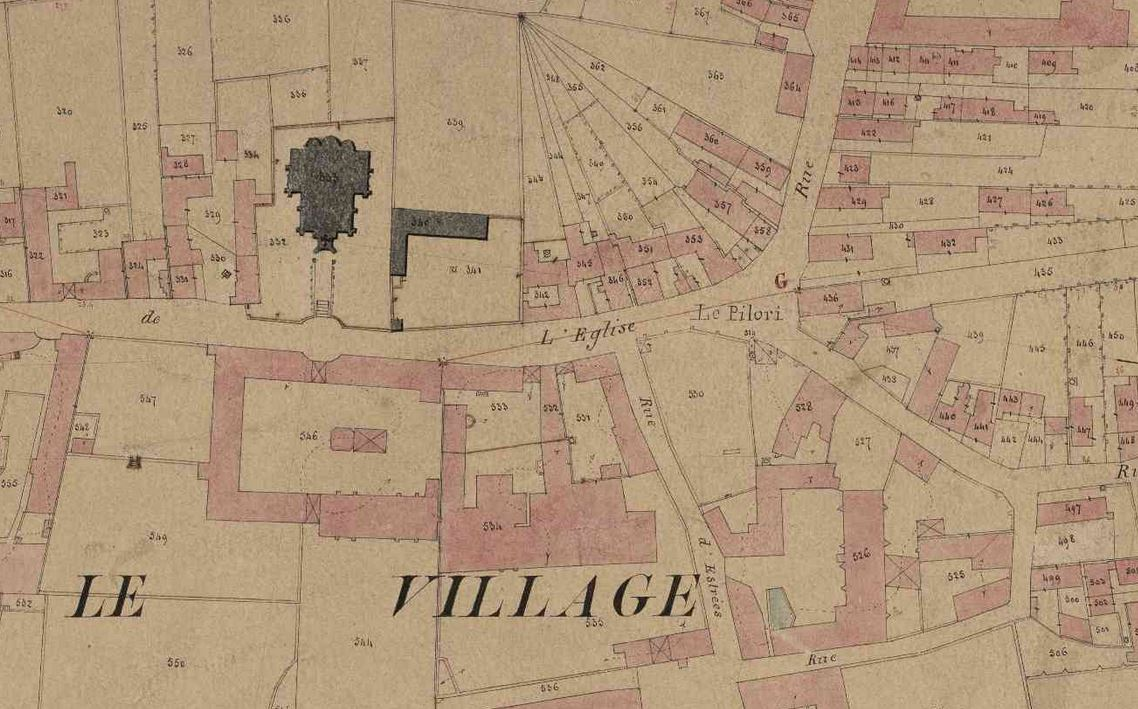 Extract of a cadastral map from the 19th century