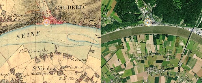 Comparison of the 19th century survey map and a recent aerial view of Caudebec en Caux thanks to the Geoportail website