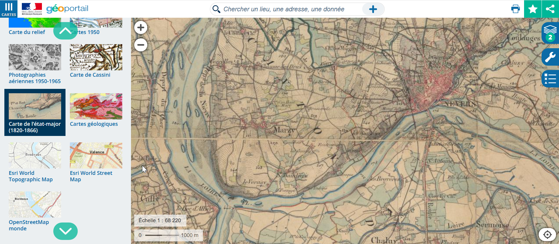 Exploring the 19th century survey map on the Geoportail website