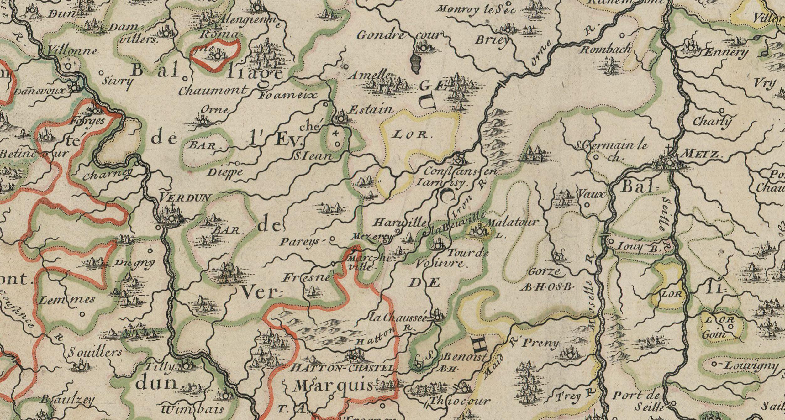 Extract of a map of Lorraine in the 17th century (Bibliothèque nationale de France, département Cartes et plans)