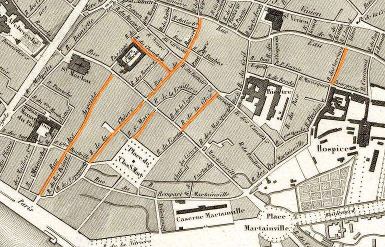 Map of Rouen in the middle of the 19th century, with the streets where my ancestors lived (in orange)