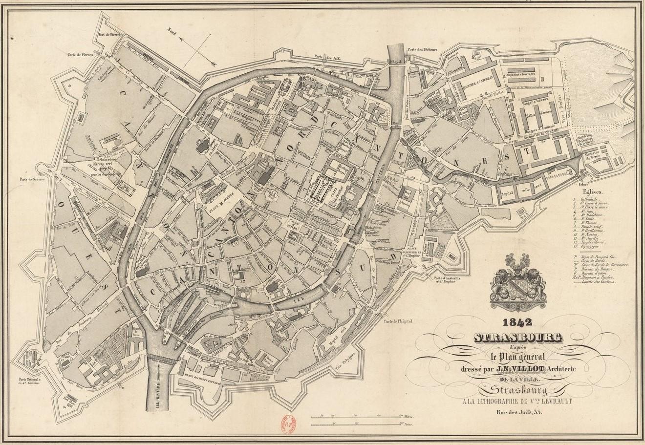 Map of the city of Strasbourg in the 19th century (Bibliothèque nationale de France, département Cartes et plans)