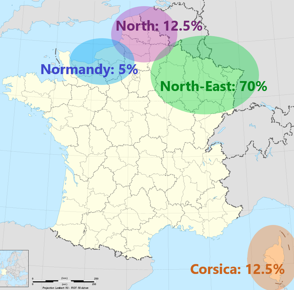 Origins of my ancestors in France