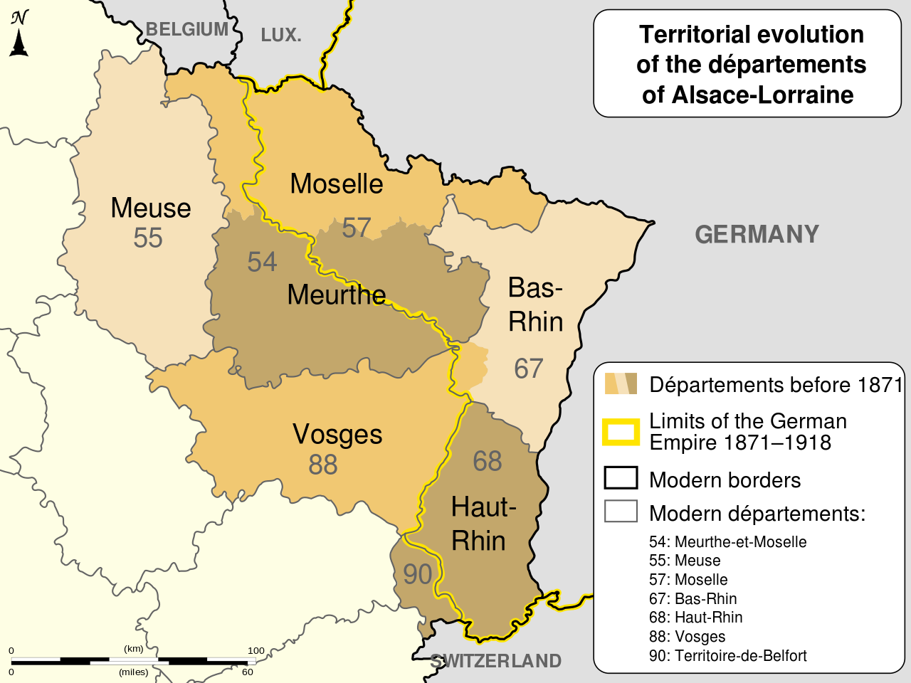 Départements of Alsace-Lorraine before and after 1871