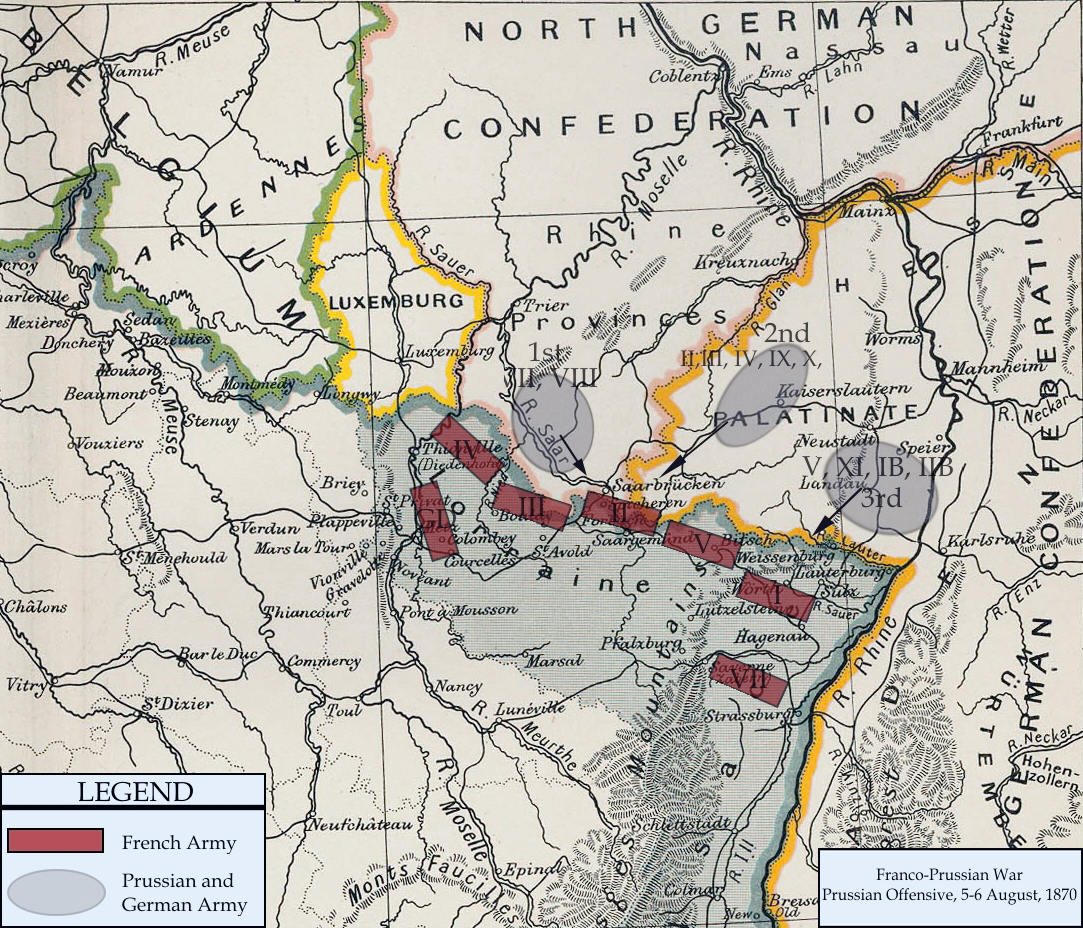 Positions of French and Prussian armies in August 1870